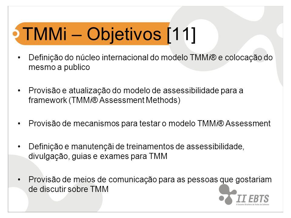 TMMi – Objetivos [11] Definição do núcleo internacional do modelo TMMi® e colocação do mesmo a publico.